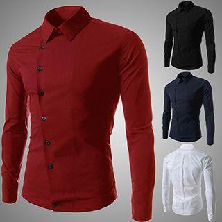 Diagonal Button Long-sleeve Shirt