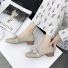 Embellished Mary Jane Flats / Chunky-heel Pumps