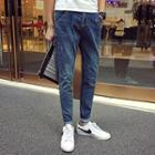 Lettering Print Tapered Jeans