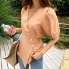 Button-trim Tie-waist Blouse