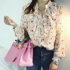Mandarin-collar Floral Ruffled Shirt