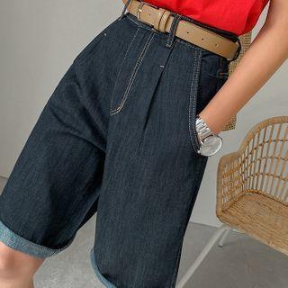 Stitched Denim Bermuda Shorts