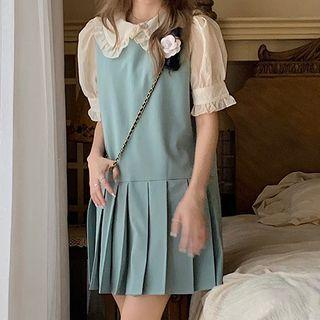 Short-sleeve Ruffle Trim Blouse / Overall Dress