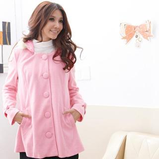 Faux Fur-trim Single-breasted Hooded Wool Coat