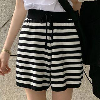 Striped Drawstring Shorts As Shown In Figure - One Size