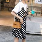 Dotted Panel Short Sleeve T-shirt Dress