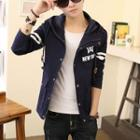 Lettering Striped Hooded Zip Jacket