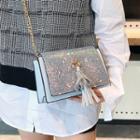Glittered Tasseled Crossbody Bag