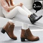 Chunky-heel Buckled Ankle Boots
