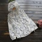 Drawstring Cat Printed Hooded Jacket