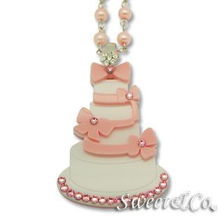 Sweet Pink Dolly Cake Swarovski Pearly Long Necklace Pink - One Size