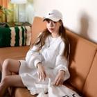 Ruffle-hem Mini Pullover Dress