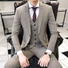 Suit Set: Houndstooth Blazer + Vest + Dress Pants
