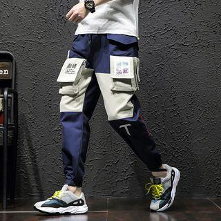 Drawstring Waist Embroidered Cargo Pants