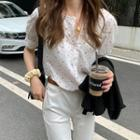 Crochet Trim Short-sleeve Floral Blouse White - One Size