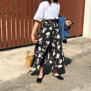 High-waist Floral Print Wide-leg Pants Black - One Size