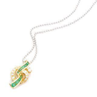 18k Yellow Gold Pendant With Diamonds And Emeralds