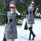 Color Panel Long Sleeve Woolen Dress