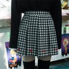 Pleated Gingham Mini Skirt