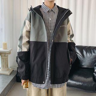 Hooded Paneled Lettering Zip Jacket