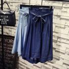 Bow Midi Denim Skirt