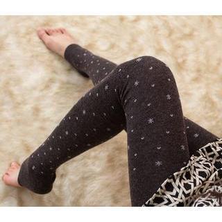 Snowflake Print Stirrup Leggings
