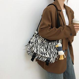 Zebra Print Canvas Messenger Bag