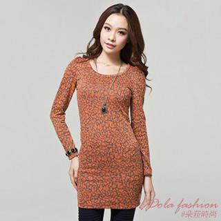 Long-sleeve Patterned Dress