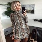 Long-sleeve Snake-print Dress