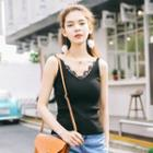 Lace Trim Knitted Camisole Top