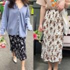 Floral Printed Pleated Skirt