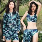 Set: Printed Tankini + Swim Shorts + Hooded Long-sleeve Top