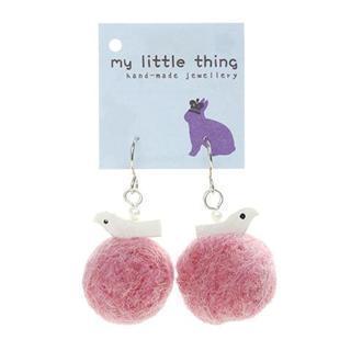 Pink Felt Ball Ball Bird Earrings
