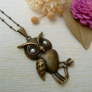 Pearl Owl Necklace Copper - One Size