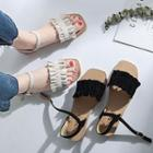 Ruffled Faux-suede Flat Sandals