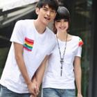 Couple Matching Striped Panel Short Sleeve T-shirt