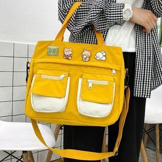 Lightweight Color Block Messenger Bag