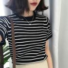 Crewneck Striped Short-sleeve Knit Top