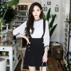 Double-buttoned A-line Suspender Skirt