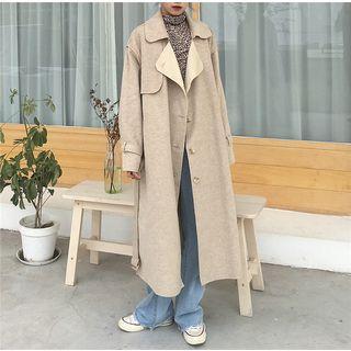 Single Breasted Coat Khaki - One Size