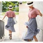 Asymmetric-hem Checked Skirt
