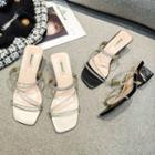 Block Heel Rhinestone Strappy Slide Sandals