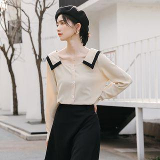 Square-neck Chiffon Shirt