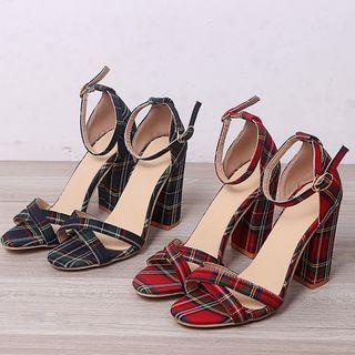 Plaid Chunky Heel Ankle Strap Sandals