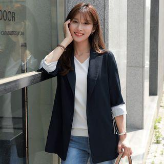 Contrast-trim Hook-and-eye Blazer With Keyring Navy Blue - One Size