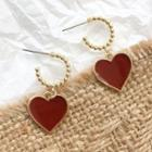 Alloy Heart Dangle Earring 1 Pair - Gold & Red - One Size