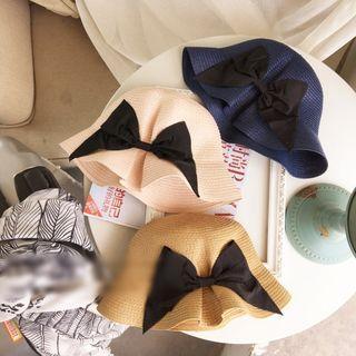 Bow Straw Bucket Hat