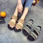 Patterned Panel Platform Sandals