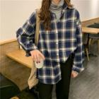 Long-sleeve Turtle Neck T-shirt / Plaid Shirt