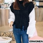 Inset Sweater Turtle-neck Distressed Blouse
